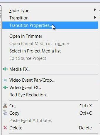 Настройки видеоперехода